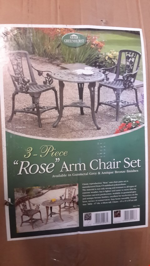 Lot 35 BOXED 3-PIECE ROSE ARMCHAIR SET IN GUNMETAL GREY
