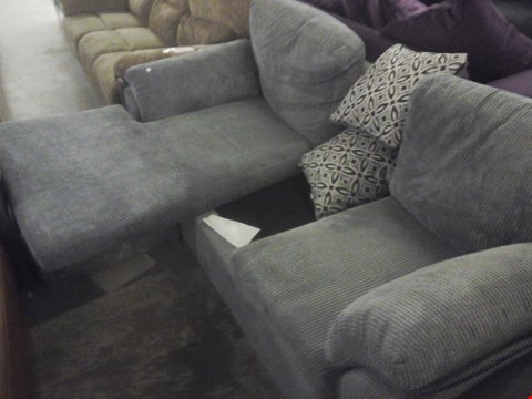 Lot 79 DESIGNER CORDED GREY FABRIC CHAISE SOFA
