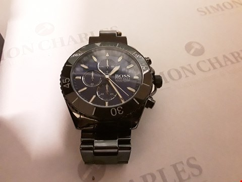 Lot 89 BOSS OCEAN EDITION BLUE SUNRAY CHRONOGRAPH DIAL BLACK IP STAINLESS STEEL BRACELET MENS WATCH RRP £659.00