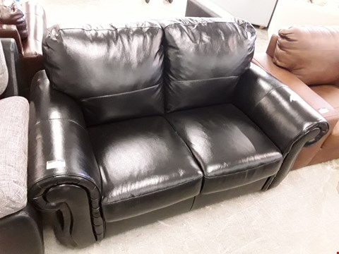 Lot 40 DESIGNER BLACK FAUX LEATHER 2 SEATER SOFA