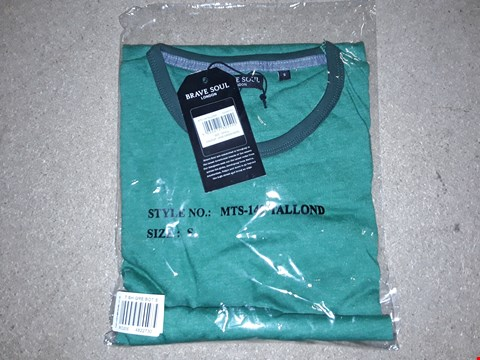Lot 127 BOX OF APPROXIMATELY 24 BRAVE SOUL JADE GREEN MARL T-SHIRTS - SMALL
