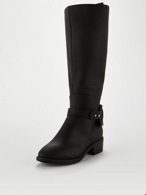 Lot 7319 BRAND NEW V BY VERY MEADOW WIDE FIT BLACK RIDING BOOTS - SIZE 5 UK