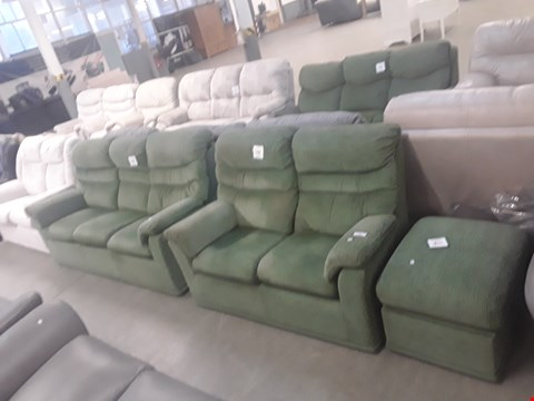 Lot 48 QUALITY BRITISH MADE HARDWOOD FRAMED WICKER JADE FABRIC THREE PIECE SUITE CONSISTING OF A THREE SEATER SOFA, TWO SEATER SOFA AND FOOTSTOOL