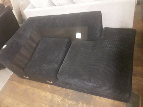 Lot 358 DESIGNER NAVY CORD FABRIC CHAISE SOFA SECTION