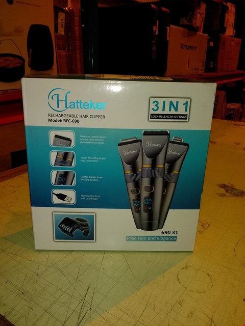 Lot 8408 HATTEKER PROFESSIONAL HAIR CLIPPER CORDLESS CLIPPERS HAIR TRIMMER
