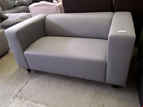 Lot 12 DESIGNER GREY FAUX LEATHER MINIMALISTIC TWO SEATER SOFA