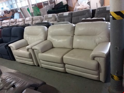 Lot 26 QUALITY BRITISH MADE HARDWOOD FRAMED BEIGE LEATHER MANUAL RECLINING 2 SEATER SOFA AND EKECTRIC RECLINING ARM CHAIR