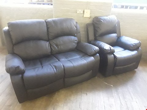 Lot 44 DESIGNER BLACK FAUX LEATHER MANUALLY RECLINING TWO SEATER SOFA AND MANUALLY RECLINING ARMCHAIR