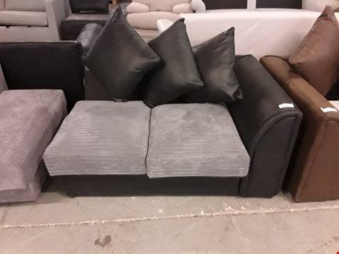 Lot 189 DESIGNER BLACK FAUX LEATHER AND GREY JUMBO CORD SOFA SECTION