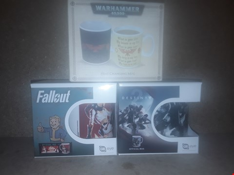 Lot 675 BOX OF APPROXIMATELY 20 BRAND NEW ITEMS TO INCLUDE FALLOUT NUKA GIRL MUG, WARHAMMER 40K HEAT CHANGE MUG AND DESTINY 2 OFFICIAL MUG