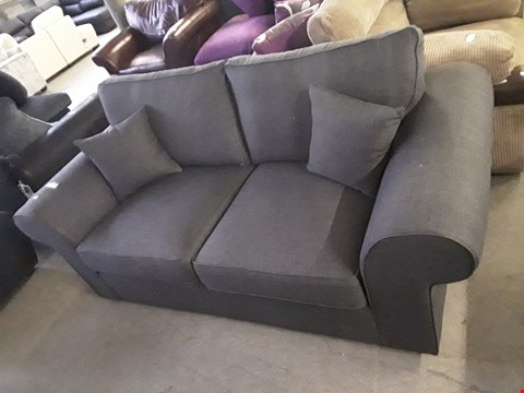 Lot 49 DESIGNER GREY FABRIC THREE SEATER SOFA WITH SIDE CUSHIONS