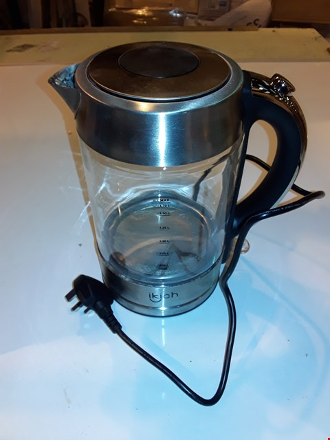 Lot 1222 IKICH ILLUMINATED GLASS ELECTRIC KETTLE, 1.7L ECO WATER KETTLE WITH AUTO SHUT-OFF & BOIL-DRY PROTECTION