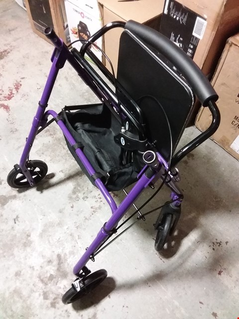 Lot 1332 DAYS 09 154 6563/105 LIGHTWEIGHT FOLDING FOUR WHEEL ROLLATOR WALKER WITH PADDED SEAT, LOCKABLE BRAKES AND CARRY BAG - MEDIUM, PURPLE