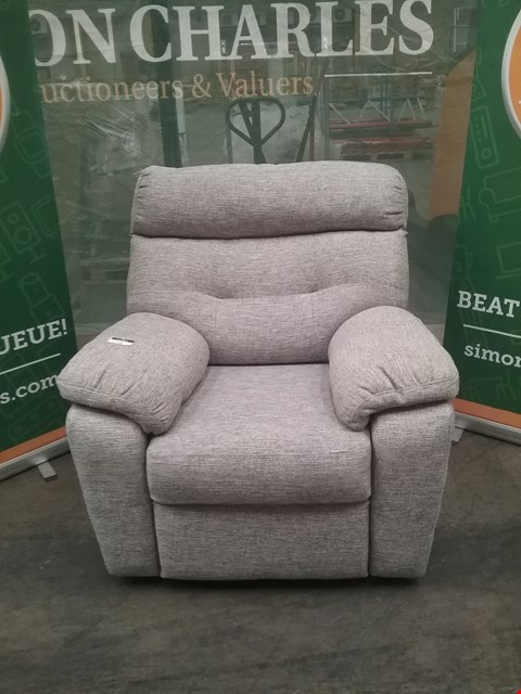 Lot 16 QUALITY BRITISH MADE HARDWOOD FRAMED GREY FABRIC ARM CHAIR