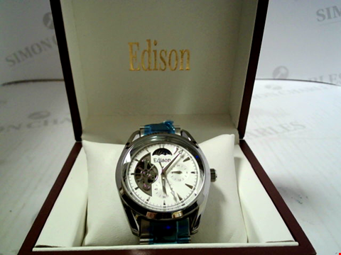 Lot 7163 DESIGNER EDISON AUTOMATIC MOONPHASE WATCH, STAINLESS STRAP RRP £600.00