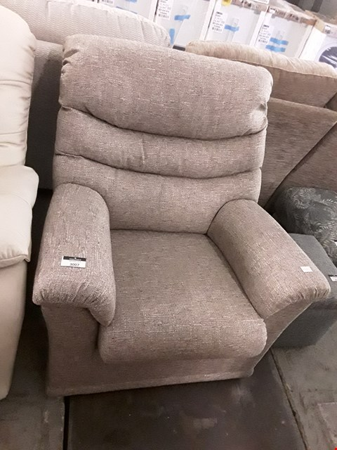 Lot 235 QUALITY BRITISH MADE, HARDWOOD FRAMED CAPPUCCINO WEAVE FABRIC ARMCHAIR