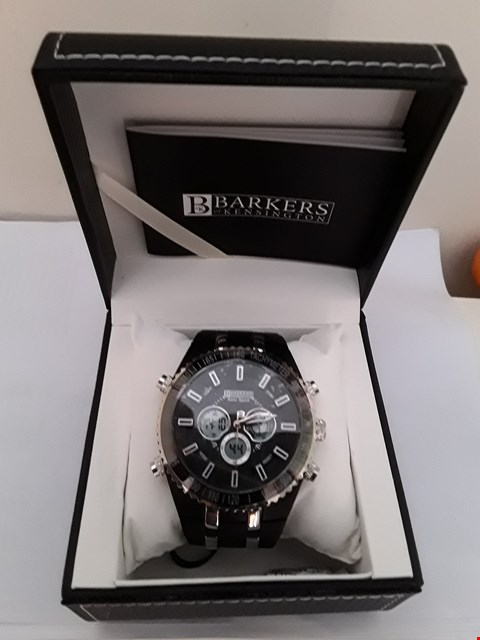 Lot 2074 BRAND NEW DESIGNER BARKERS OF KENSINGTON AERO SPORTS GENTS BLACK WRISTWATCH