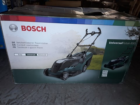 Lot 365 BOSCH UNIVERSAL ROTAK 650 CORDED LAWNMOWER RRP £150