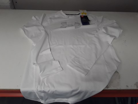 Lot 870 BRAND NEW UNDER ARMOUR BOYS HEAT GEAR WHITE EXERCISE JERSEY YXL