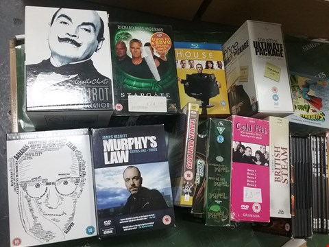 Lot 12015 A BOX OF APPROXIMATELY 15 ASSORTED DVD/BOXSETS TO INCLUDE A  POIROT THE COMPLETE COLLECTION AND A MURPHYS LAW COLLECTION