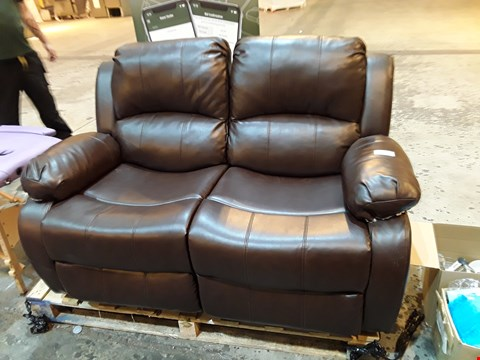 Lot 9084 DESIGNER BROWN FAUX LEATHER TEO SEATER SOFA