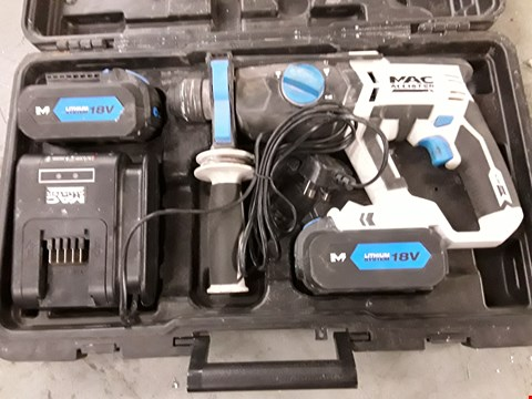 Lot 49 MAC ALLISTER 18V CORDLESS HAMMER DRILL WITH 2 BATTETIES, CHARGER & CASE RRP £125