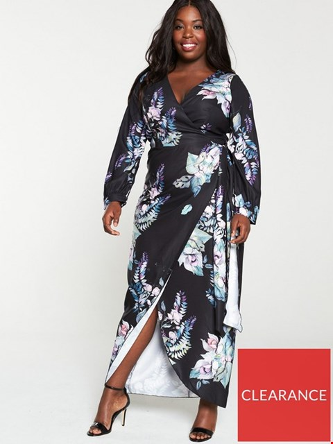 Lot 7361 BRAND NEW LITTLE MISTRESS CURVE BLACK FLORAL LONG SLEEVE MULTICOLOURED MAXI DRESS - SIZE 22 UK