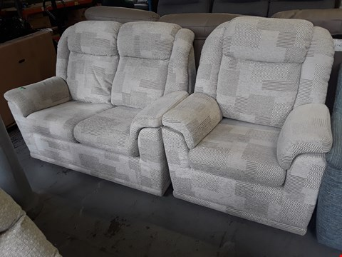 Lot 140 QUALITY BRITISH DESIGNER HARDWOOD FRAMED NATURAL PATTERNED FABRIC SUITE, COMPRISING, TWO SEATER SOFA & EASY CHAIR
