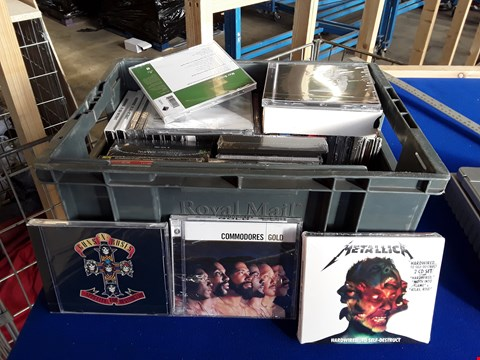 Lot 7687 BOX OF APPROXIMATELY 45 ASSORTED CD'S AND CASSETTES TO INCLUDE GUNS N ROSES, COMMODORES, METALLICA ETC