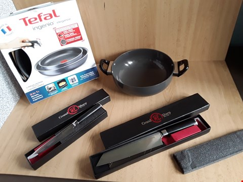 Lot 2557 LOT OF 4 ASSORTED ITEMS TO INCLUDE GRAND SHARP KNIFES AND TEFAL PANS