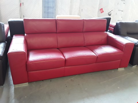 Lot 65 BRAND NEW QUALITY ITALIAN DESIGNER RED LEATHER 3 SEATER SOFA WITH METAL  ACTION SOFA BED AND ADJUSTABLE HEADRESTS
