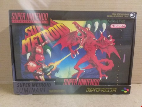 Lot 417 BRAND NEW BOXED SUPER METROID LUMINART LIGHT UP WALL ART