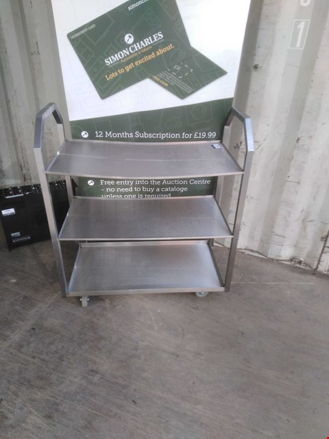 Lot 3003 STAINLESS STEEL 3 TIER MOBILE SHELVING
