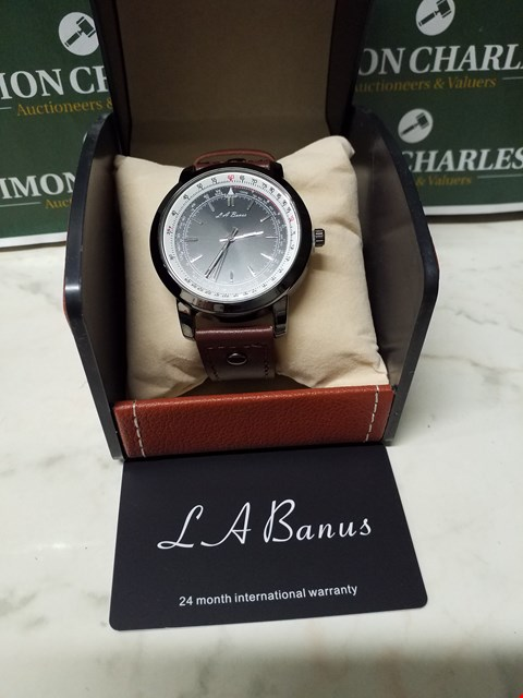 Lot 4578 L. A BANUS STAINLESS STEEL CASE TIMER WATCH WITH BROWN LEATHER WRIST STRAP