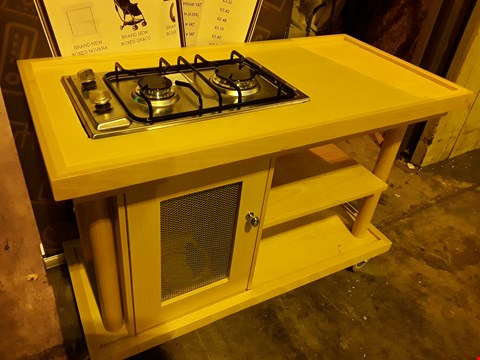 Lot 3101 EURO SERVICE WOODEN TROLLEY WITH TWO BURNER CDA CALOR HOB & COVER