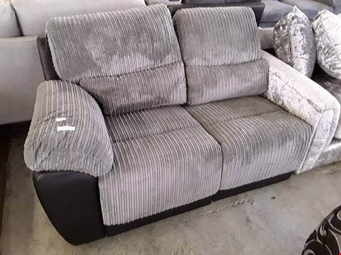 Lot 13 DESIGNER BLACK FAUX LEATHER & GREY JUMBO CHORD MANUAL RECLINING TWO SEATER SECTION