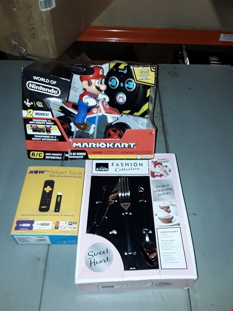 Lot 1793 BOX OF APPROXIMATELY 13 ASSORTED GRADE 1 ITEMS TO INCLUDE MARIO KART MARIO RC MOTORCYCLE, SWEETHEART CUTLERY SET AND NOW TV SMART STICK RRP £304