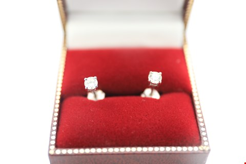 Lot 3 18CT WHITE GOLD STUD EARRINGS SET WITH DIAMONDS WEIGHING +-0.50CT