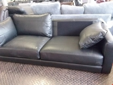 Lot 80 DESIGNER BLACK FAUX LEATHER 2 SEATER SOFA