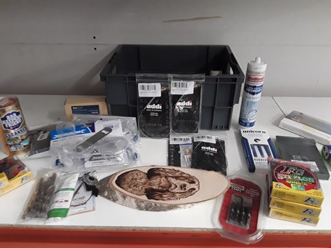 Lot 174 BOX OF APPROXIMATELY 34 ASSORTED ITEMS TO INCLUDE FISHING LINE, DARTS, SILICONE ETC