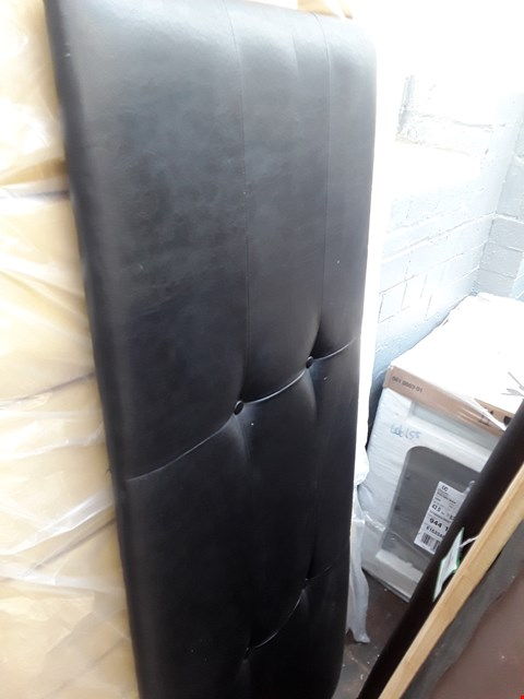 Lot 2139 140CM BLACK FAUX LEATHER BUTTON BACK DETAIL HEADBOARD