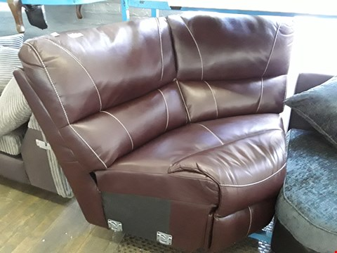 Lot 51 BROWN FAUX LEATHER CORNER SECTION WITH CONTRAST STITCHING