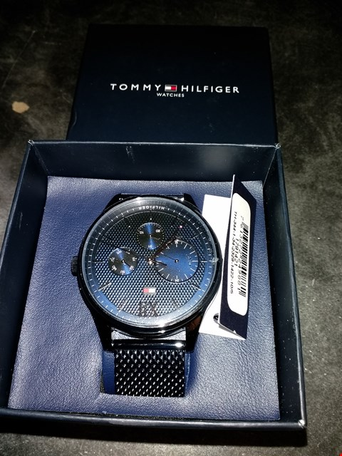 Lot 2085 TOMMY HILFIGER BLUE AND SILVER DETAIUL MULTI DIAL BLUE IP STAINLESS STEEL MESH STRAP WATCH RRP £235.00