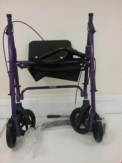 Lot 3479 DAYS 09 154 6563/105 LIGHTWEIGHT FOLDING FOUR WHEEL ROLLATOR WALKER WITH PADDED SEAT, LOCKABLE BRAKES AND CARRY BAG - MEDIUM, PURPLE