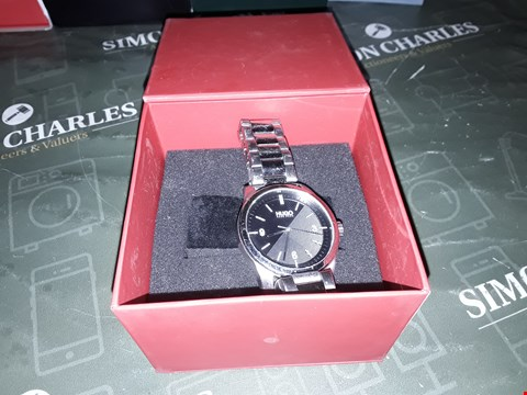 Lot 2008 HUGO CREATE BLACK 3-HAND DIAL ANALOGUE MENS WATCH WITH STAINLESS STEEL BRACELET RRP £179.00