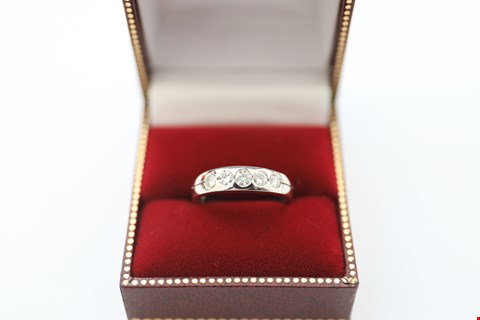 Lot 18 18CT WHITE GOLD FIVE STONE HALF ETERNITY RING RUBOVER SET WITH DIAMONDS WEIGHING +-0.51CT