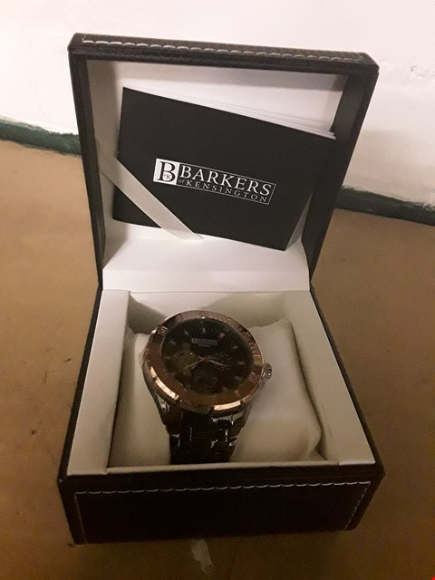 Lot 36 BRAND NEW BARKERS OF KENSINGTON DESIGNER GENTS PREMIER AUTOMATIC BLACK WRIST WATCH WITH TAGS, BOX & MANUFACTURERS 5 YEAR WARRANTY  RRP £550