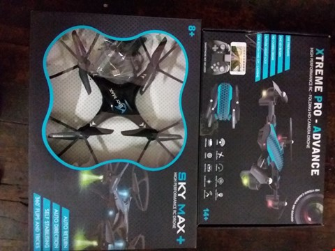 Lot 2596 LOT OF 4 ITEMS TO INCLUDE 3 SKY MAX+ RC DRONES, 1 XTREME PRO-ADVANCE FOLDABLE DRONE