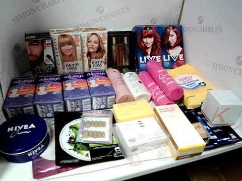 Lot 11055 LOT OF ASSORTED HEALTH & BEAUTY PRODUCTS TO INCLUDE: SCHWARZKOPF PERMANENT HAIR COLOUR, CLAIROL PERMANENT COLOUR CRÈME, NIVEA CRÈME, ASSORTED BATHROOM & MAKEUP PRODUCTS