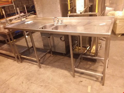 Lot 4034 STAINLESS STEEL LARGE 2 BOWL WASH UNIT